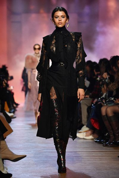 Photo of Georgia Fowler walks the runway during the Elie Saab show as part of the Paris …
