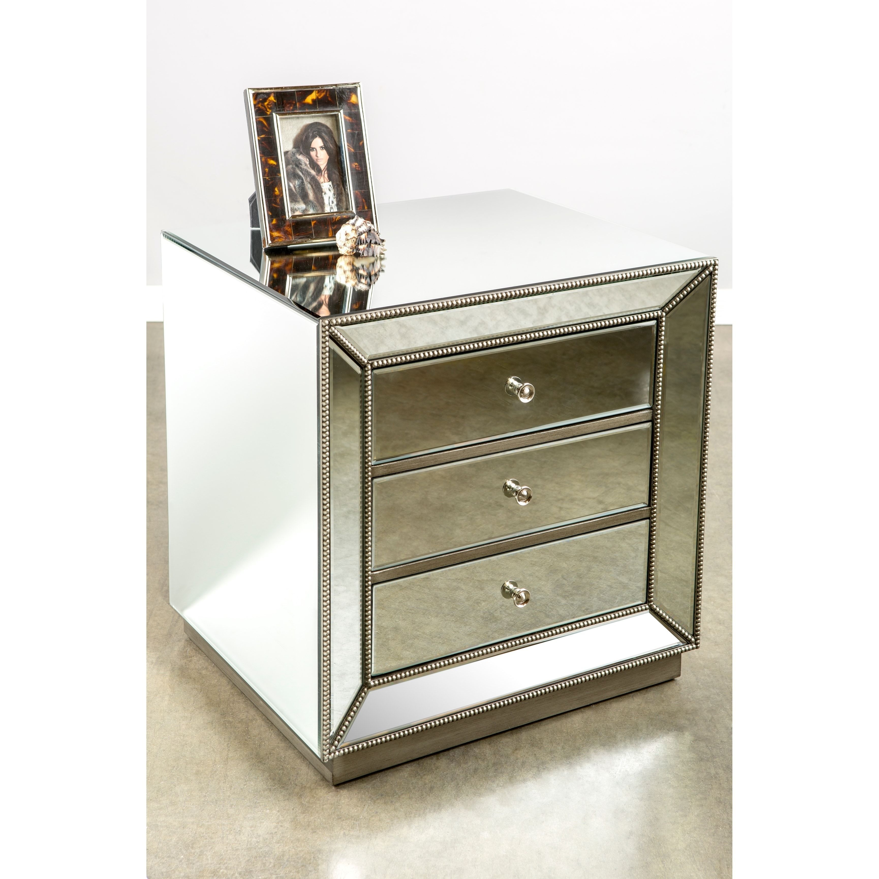 Statements by J Mie Chrome Mirrored Nightstand, Silver, Size 3-drawer (Glass