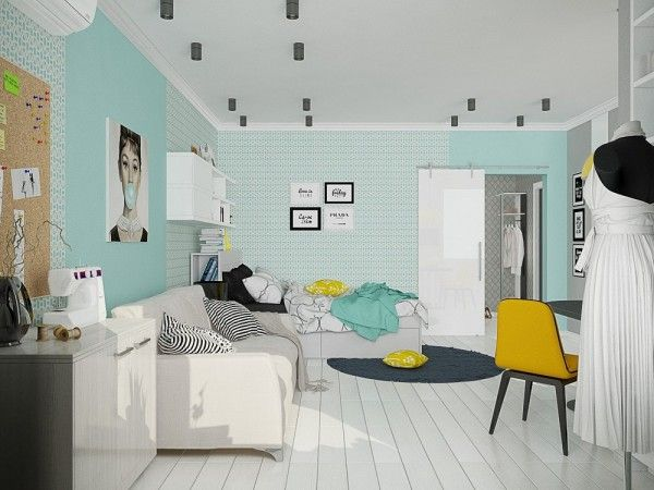 4 small studio apartments decorated in 4 different styles all under 50 square meters with floor plans