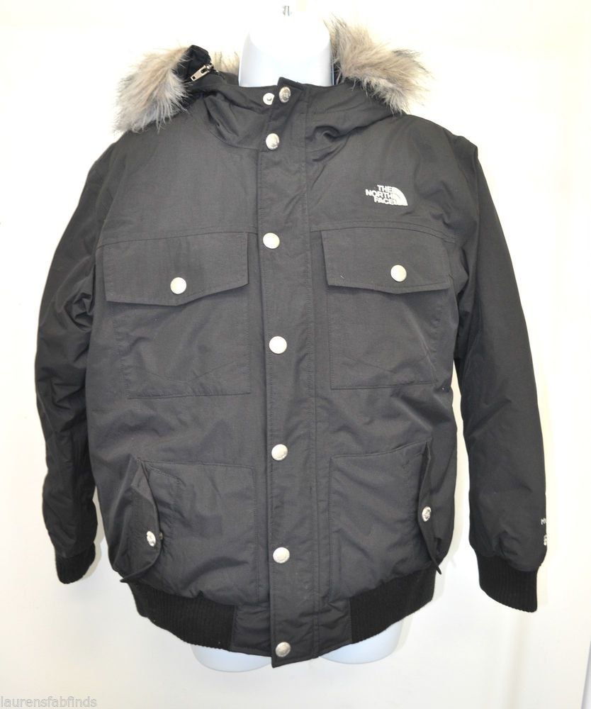 1ba48c952 North Face Black HyVent 550 Boys Hooded Goose Down Jacket Size Large ...