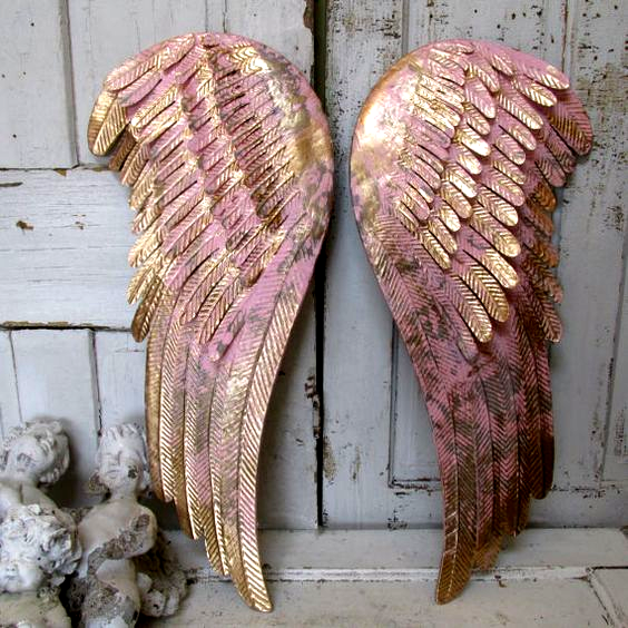 Pink And Gold Angel Wings Wall Hanging Shabby Cottage Chic D In 2020 Angel Wings Wall Decor Angel Wings Wall Gold Angel Wings