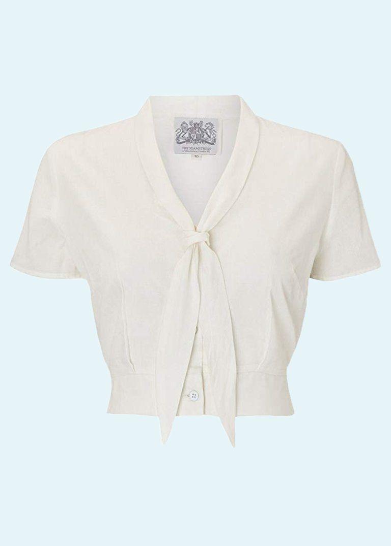 cd5a8fe1380 Bloomsbury: Bonnie 1940'er skjorte bluse i hvid i 2019 | Ønsker ...