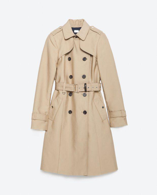 Plaszcz Zara Trencz Zlote Napy Roz Xs Long Trench Coat Coat Trench Coats Women