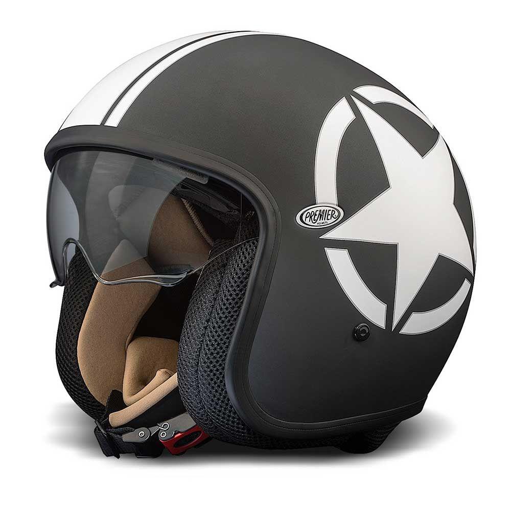 Premier Jet Vintage Helmet Black White Star Vintage Helmet Open Face Motorcycle Helmets Motorcycle Helmets