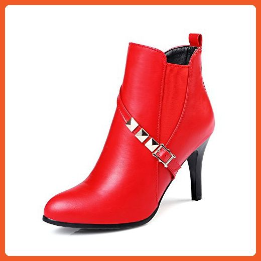 Women's High-Heels Pointed Closed Toe PU Low-Top Solid Zipper Boots Red-Rivet 40