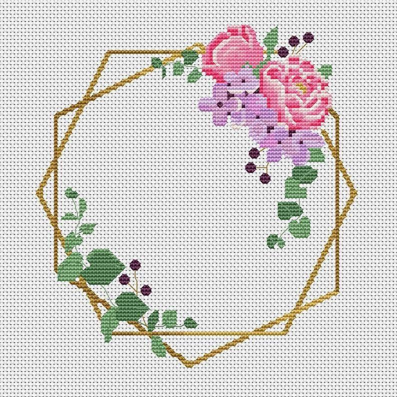 Photo of Floral Wreath Cross Stitch Pattern PDF, Floral Cross Stitch, Modern Xstitch Chart, Floral Needlepo …
