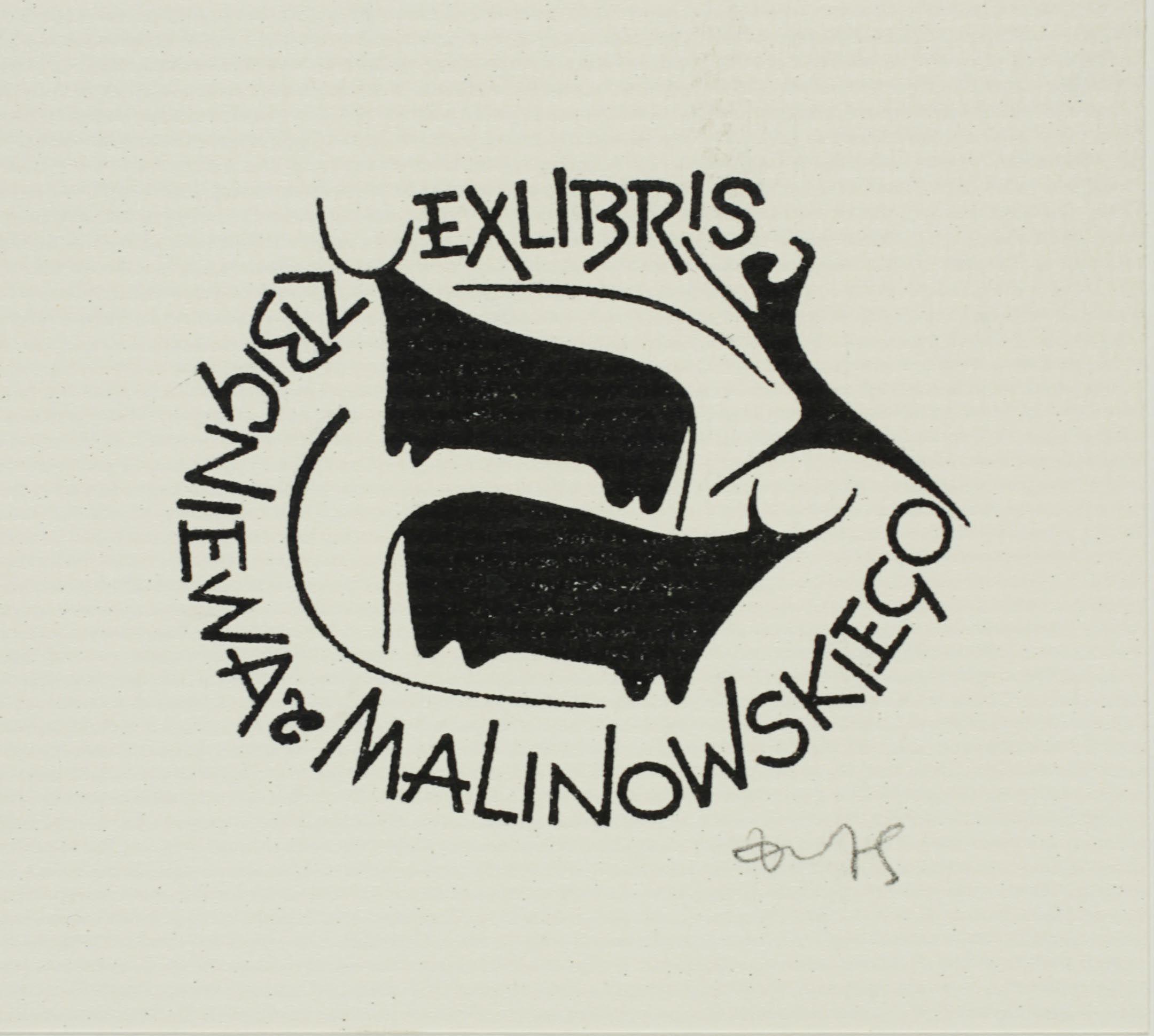 Zbigniewa Malinowskiego's bookplate (or ex libris), by Zbigniew Dolatowski.