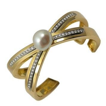 Tiffany & Co. Vintage Paloma Picasso Diamond X Bangle With Pearl $12,000