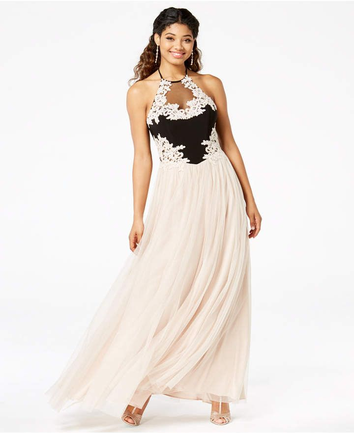 6840e8f66ba7 Blondie Nites Juniors' Embellished Applique Gown #bodice#fitted#Blondie
