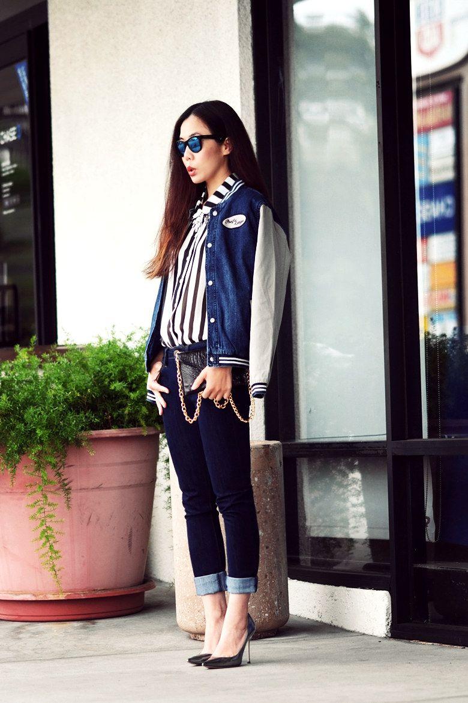 Topshop jacket, H & M shirt, DL 1961 jeans, Jimmy Choo shoes, JJ ...