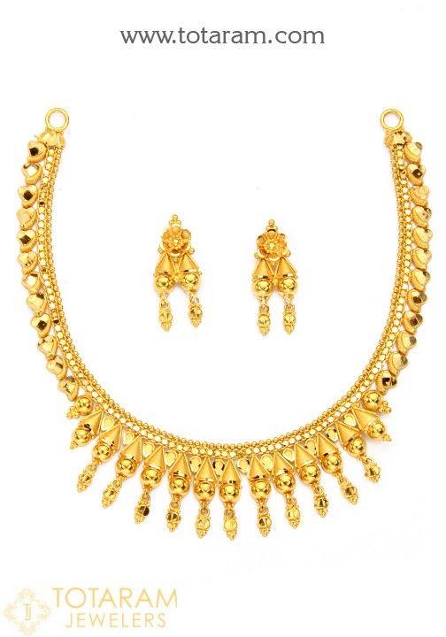 f9dda7db26f54 22K Gold Necklace Sets | Earrings | Gold necklace, Necklace set ...