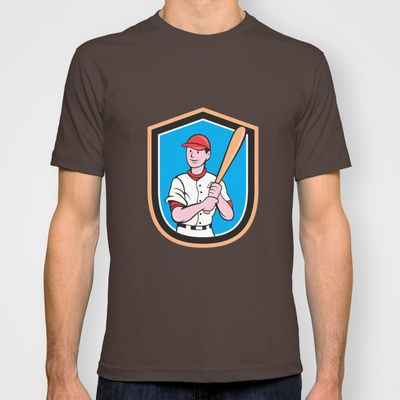 American Baseball Player Bat Shield Cartoon T-shirt