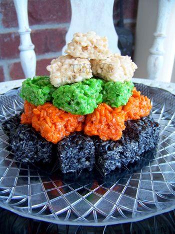 halloween colored rice krispie treats