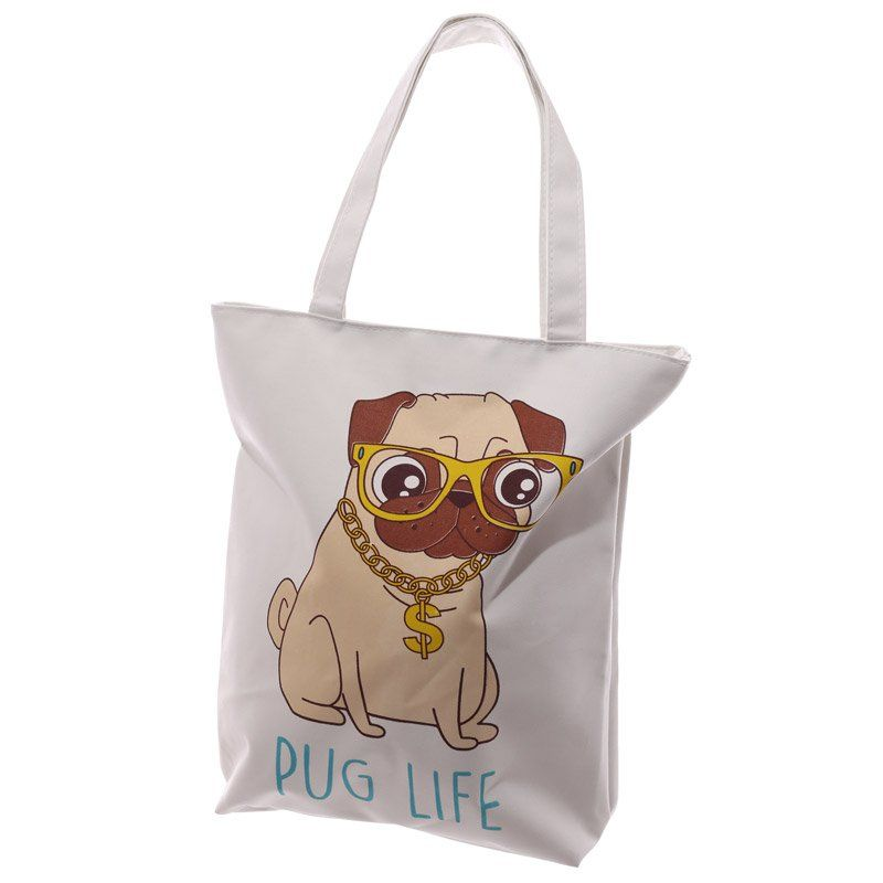 Handy Cotton Zip Up Shopping Bag - Pug Life Design | Shopping Bags ...