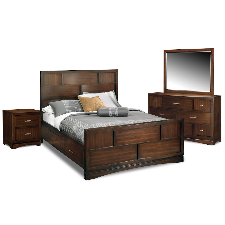 Toronto 5-Piece Storage Bedroom Set with Nightstand, Dresser and