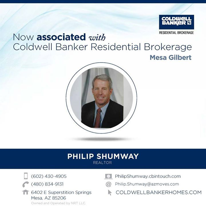 Please help us welcome Philip Shumway to Coldwell Banker Residential Brokerage!   He can be reached at (602) 430-4905.  #ColdwellBankerArizona