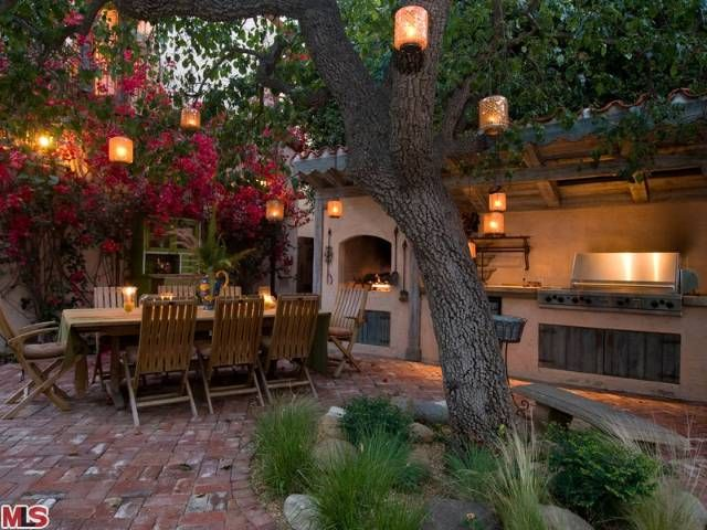 I do so love an outdoor fireplace i need to do more for Spanish style outdoor kitchen