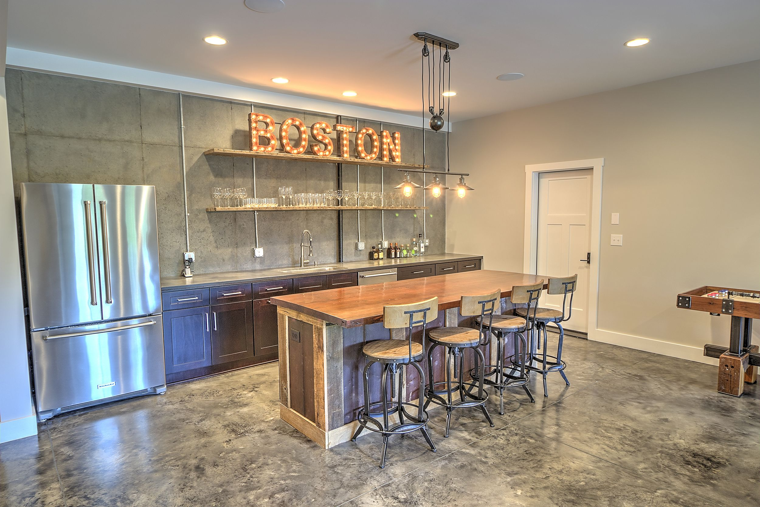 Modern Farmhouse Industrial, Reclaimed Wood Bar, Boston Sign, Concrete Floor