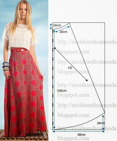 MOLDE SAIA EVASÊ LONGA | Sew It - Pattern Drafting | Pinterest ...