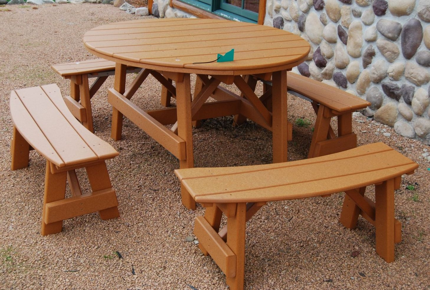 Fantastic Poly Lumber Recycled Plastic 50 Round Picnic Table With Customarchery Wood Chair Design Ideas Customarcherynet