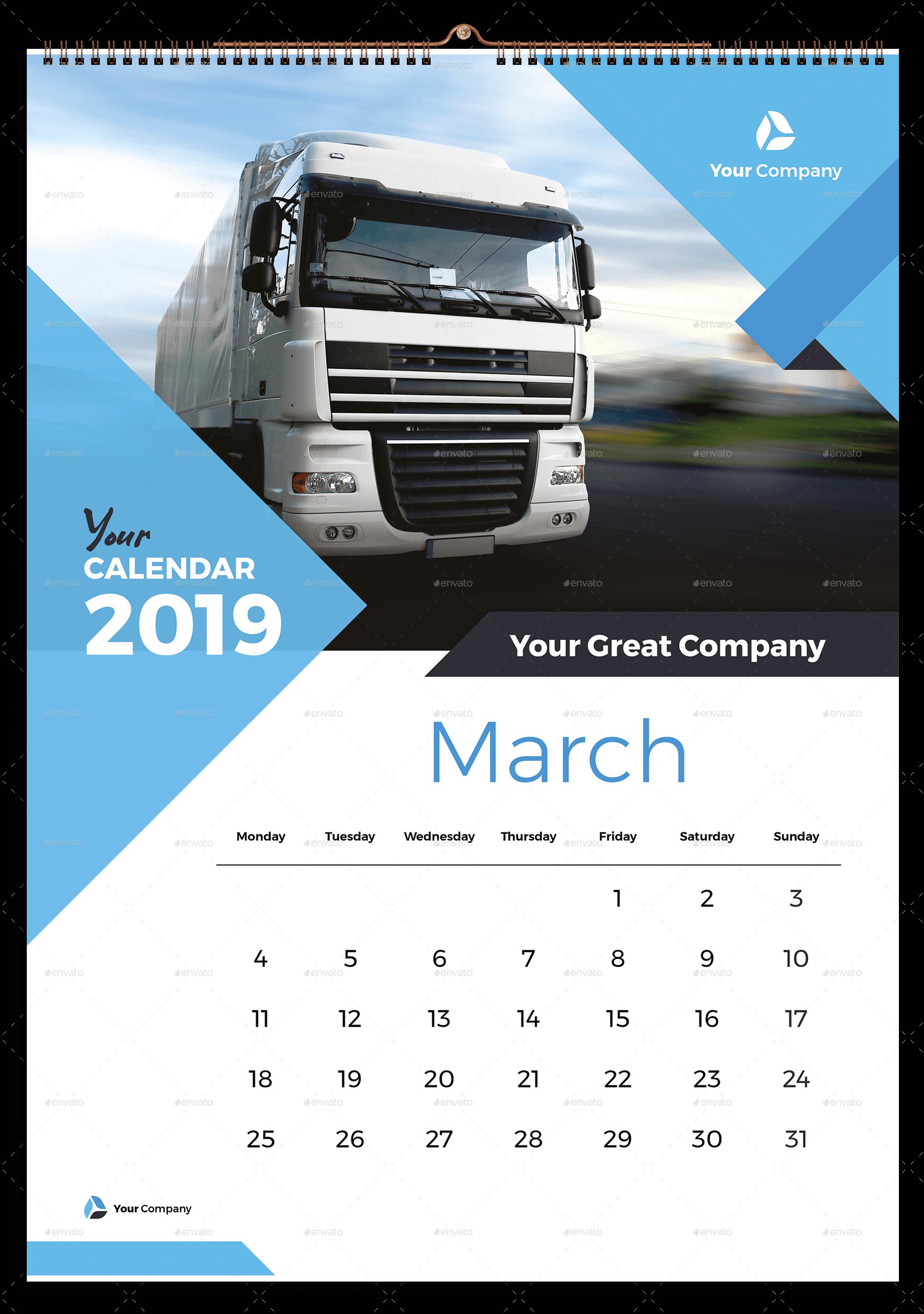 Wall Calendar 2019 Kalender Desain