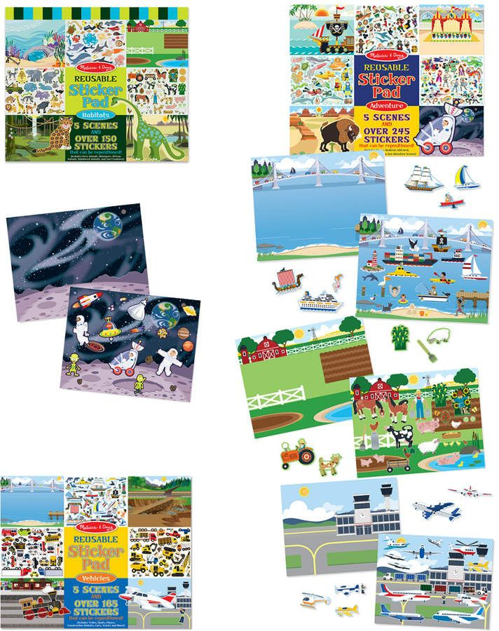 Melissa Doug Reusable Sticker Pad Bundle Vehicles