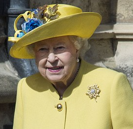 Brightening up the day in a sunny yellow coat and matching hat, Queen Elizabeth II attended the Easter Sunday service at St George's Chapel, Windsor this morning alongside a number of her ext…