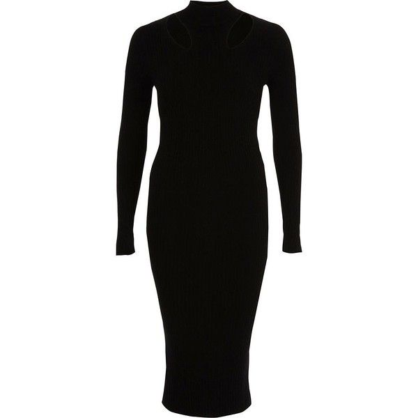 affbe5119c4 River Island Black ribbed high neck bodycon midi dress ( 40) ❤ liked on  Polyvore featuring dresses