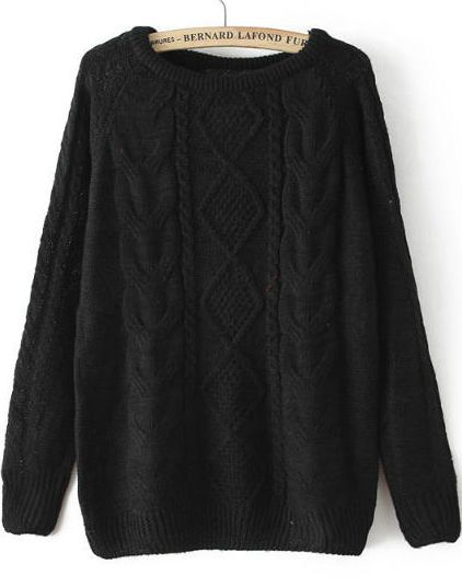 Shop Black Long Sleeve Cable Knit Loose Sweater online. Sheinside offers  Black Long Sleeve Cable Knit Loose Sweater   more to fit your fashionable  needs. 8d9c5801e