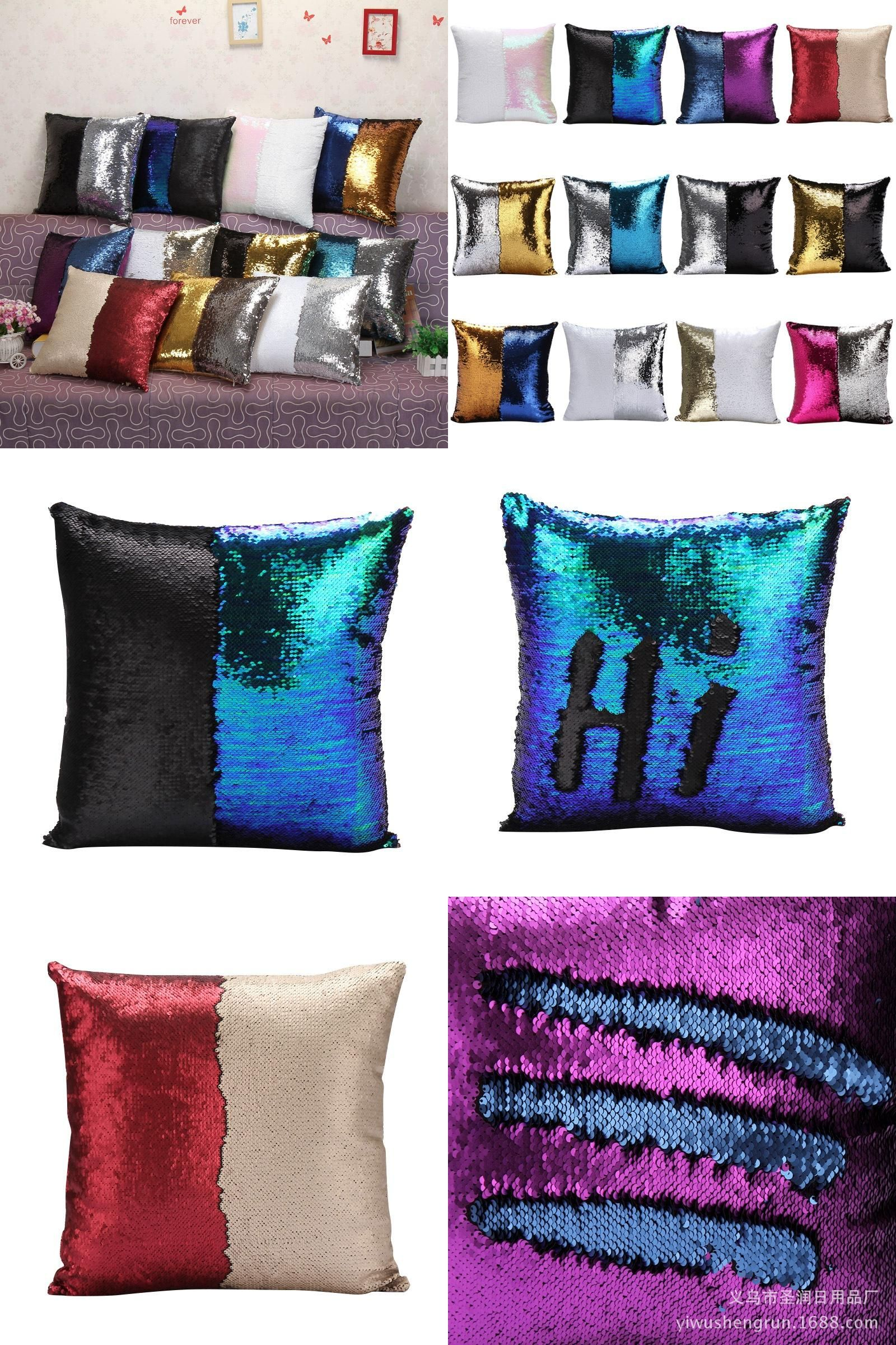 Visit to buy new creative diy two tone glitter sequins pillow