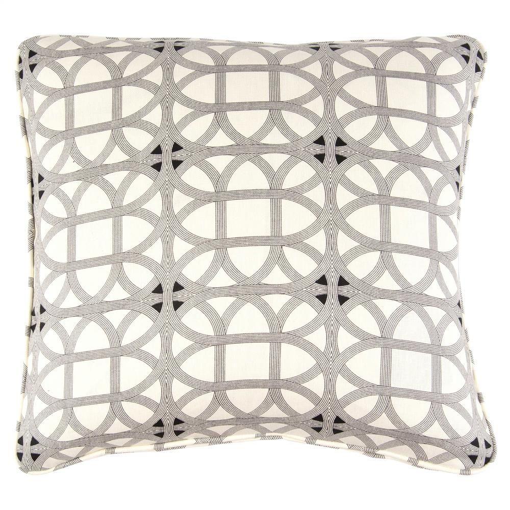 Deon modern retro black white pattern pillow x black white