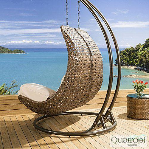 Outdoor Rattan 2 Person Garden Hanging Chair Sunbed Brown Orange