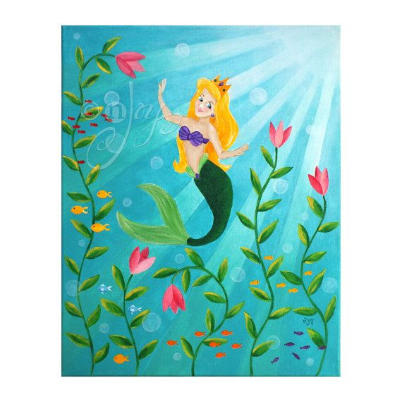 Dr.Luck Modern Oil Painting Print Art Animal Painting Mermaid Pattern on Canvas Wall Art Home Decoration Unframe 20 x 20 in