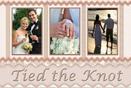 Wedding Scrapbooking Layout Idea (3 photos, 4x6) Tied the knot ...