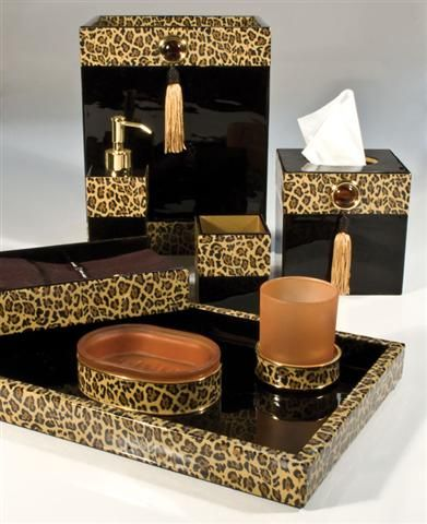 leopard bathroom accessories | leopard bath in 2018 | pinterest