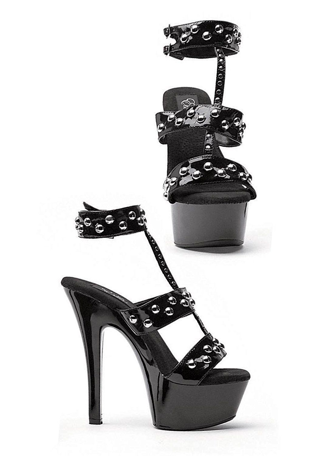 f9b9df3439b Ellie Shoes Sexy High Heel Black Platform 6  Heel Sandal SLV Rivet 601-QUEEN BLK-7      You can find out more details at the link of the image.