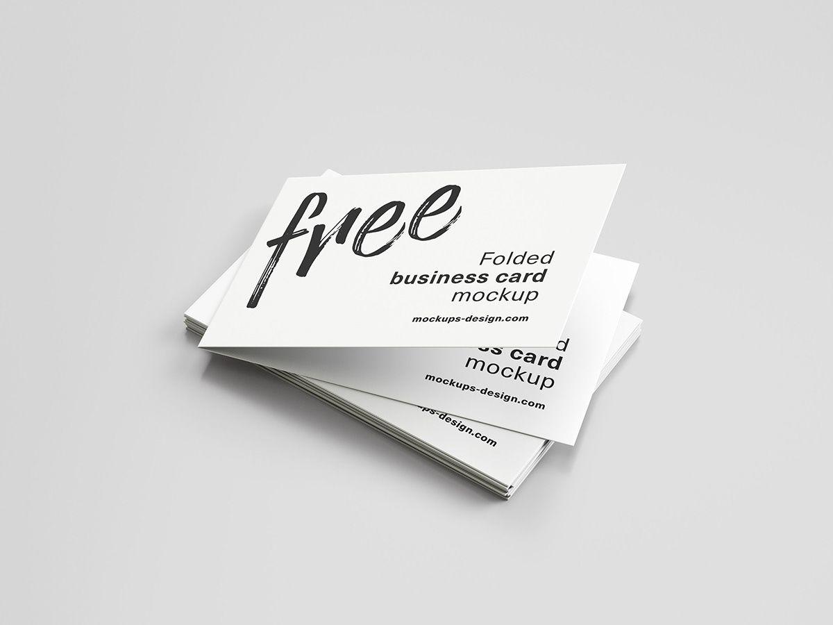Free Folded Business Card Mockup On Behance Business Card Mock Up Folded Business Cards Business Cards Mockup Psd