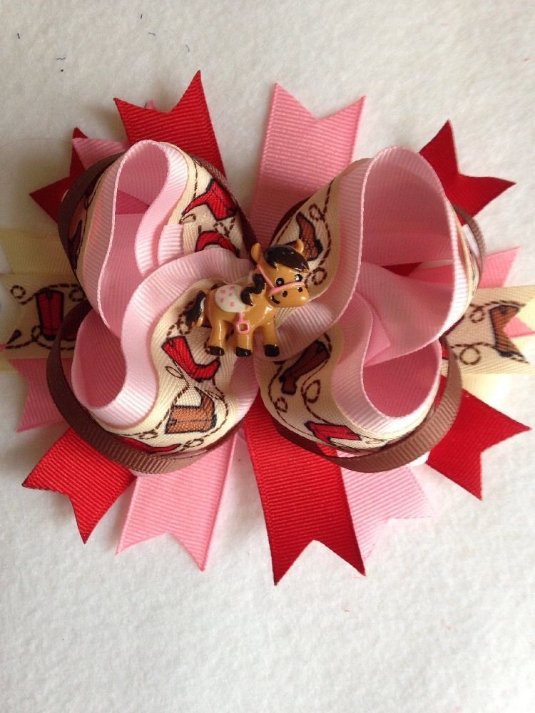 "15"" Boutique Stacked Cowgirl Hair Bow - Infant / Girls #Handmade ..."
