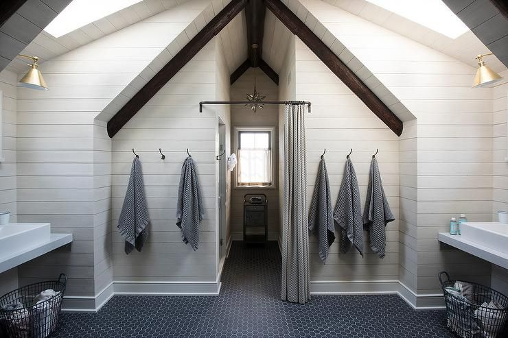 Shared Attic Kids Bathroom With Vaulted Ceiling And Skylights Country Bathroom Attic Renovation Attic Design Attic Rooms