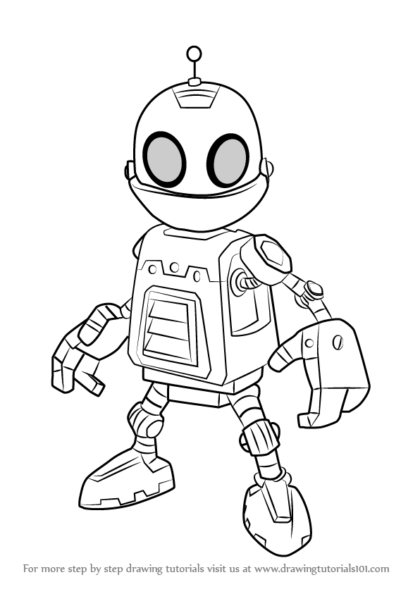 How To Draw Clank From Ratchet And Clank Drawingtutorials101 Com In 2021 Drawings Draw Art