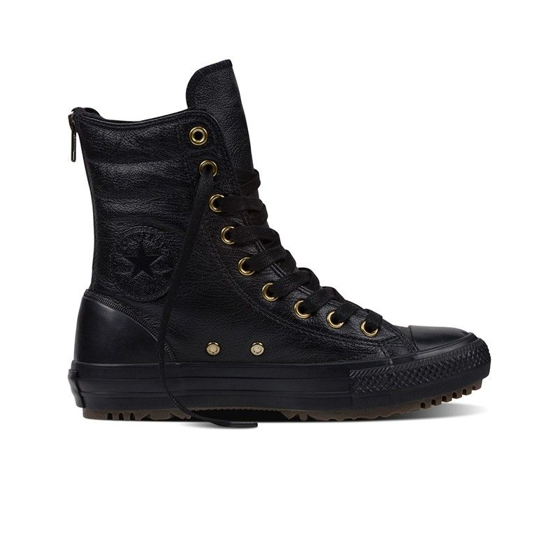 Converse Chuck Taylor All Star Hi-Rise Boot Leather + Fur in Black Leather