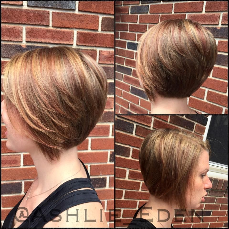Highlight Hair Updos In Accordance With Short Bob Long Front Layers And Stacked In The Back Blond Short Hair Styles Strawberry Blonde Highlights Bob Hairstyles