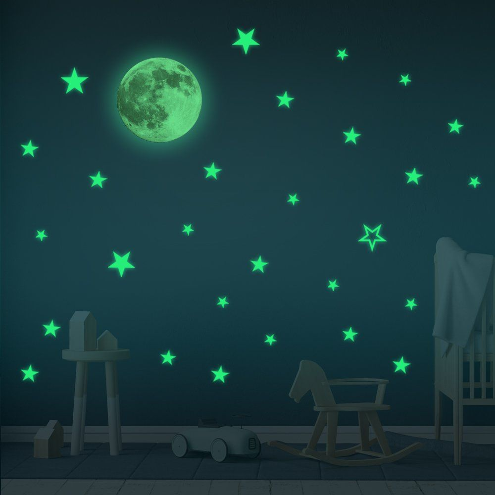Wall stickers glow in the dark moon  stars baby room decor sticker kids decoration boy girl home also rh pinterest