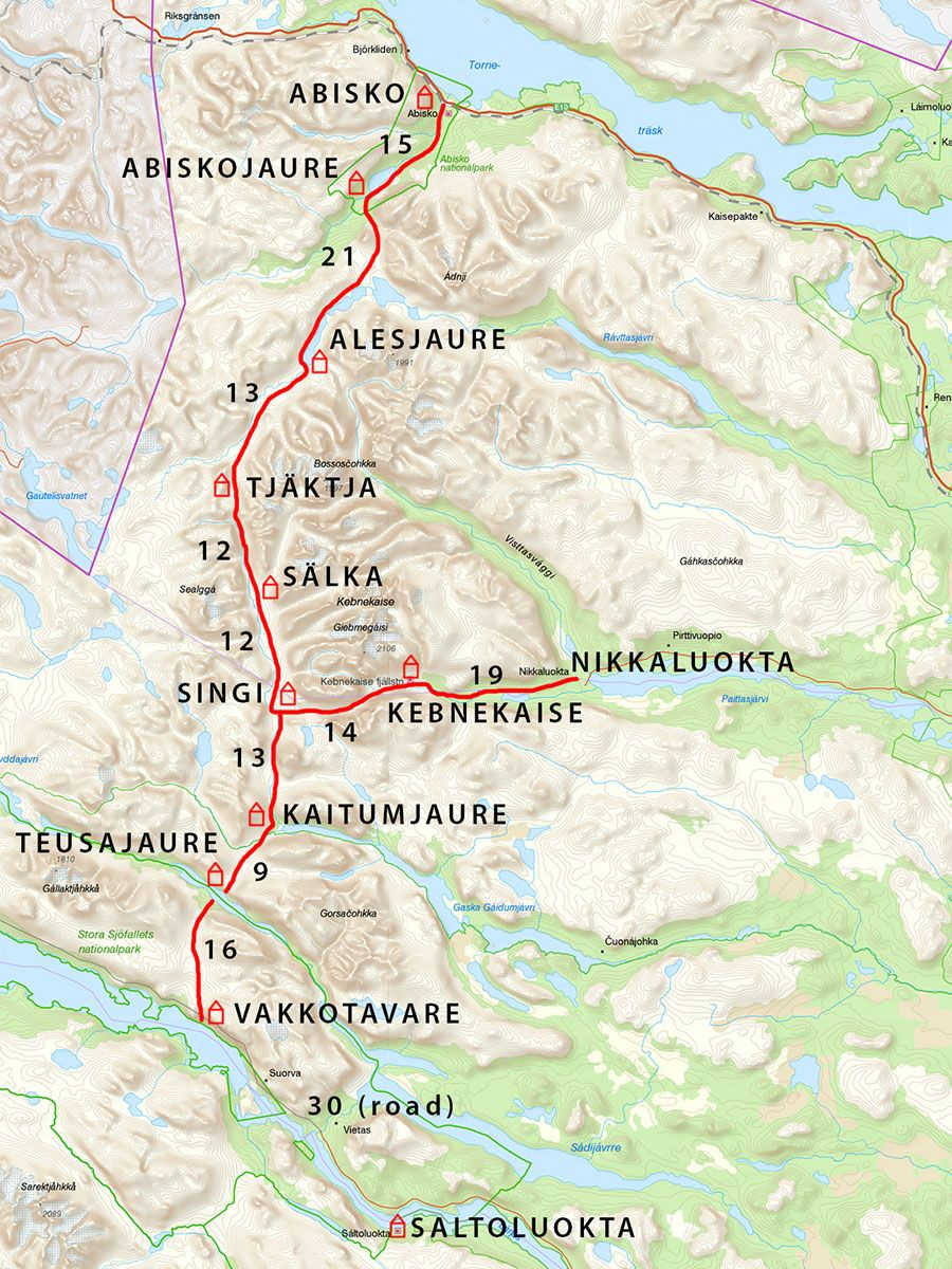 Kungsleden Trail Which Section Of The Trail Hiking Map Sweden