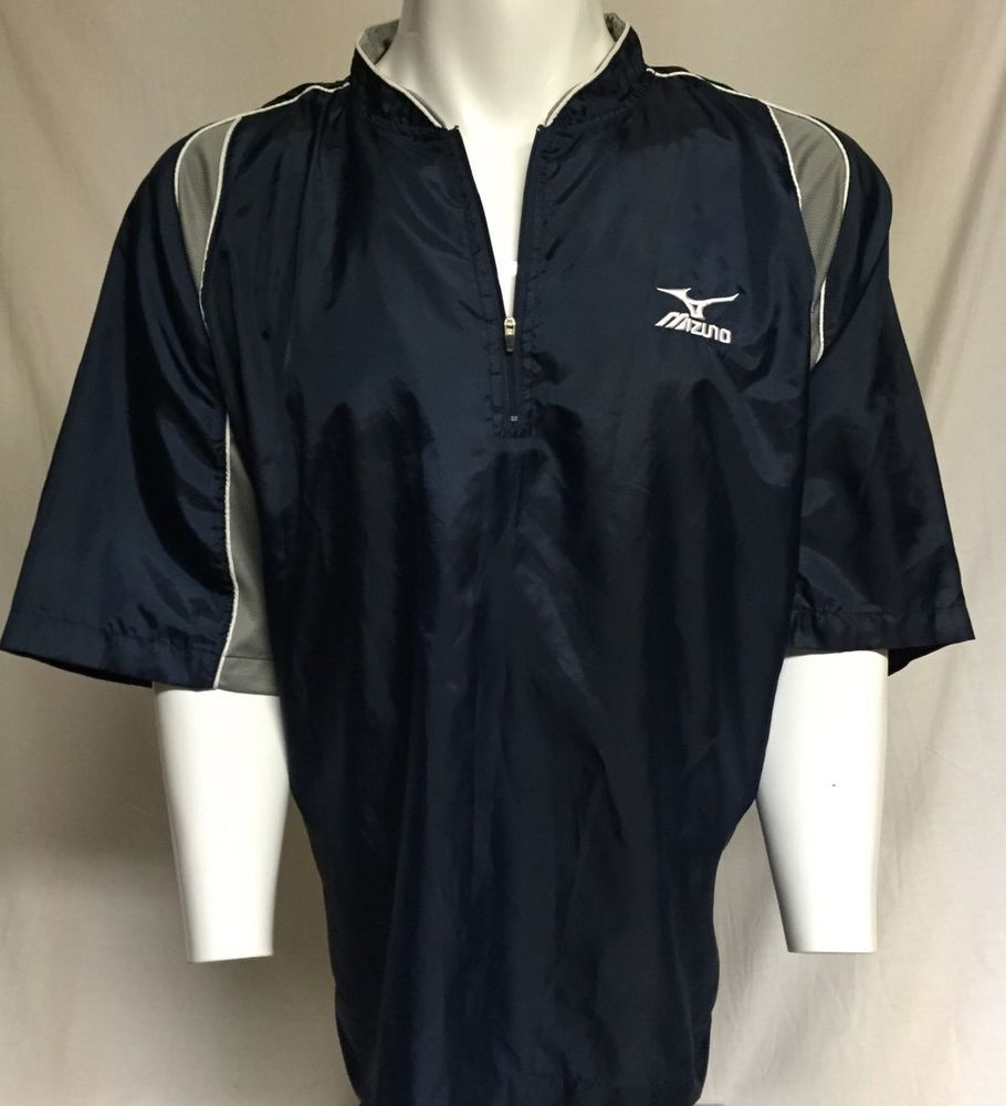 Mizuno Navy Blue X-Large Baseball Pullover Warmup Windbreaker ...
