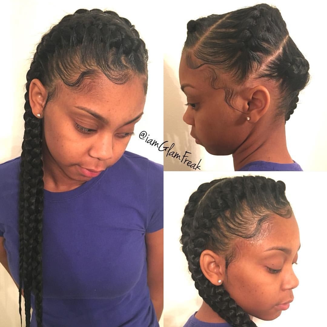 3 goddess braids side
