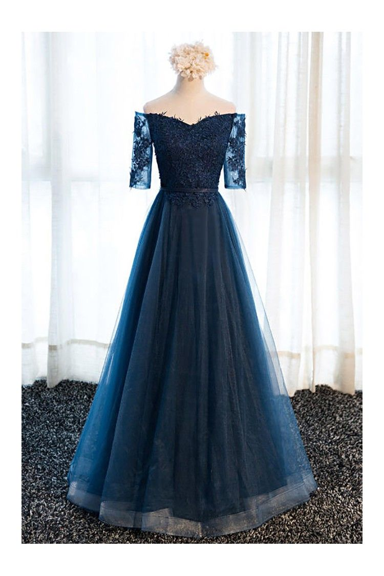 Gorgeous navy blue long tulle prom dress off the shoulder sleeves