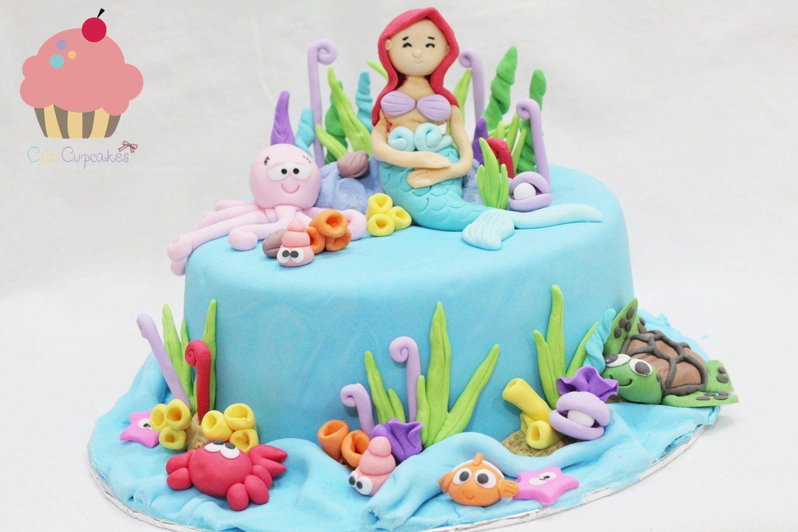 Little Mermaid 3D cake cupcakes Singapore Hand carve figurines