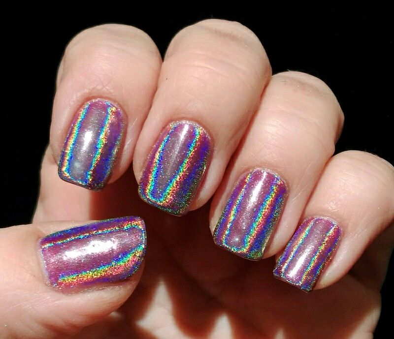 Purple Holographic Chrome Mirror Nails Using Shellac Tango Pion And Lecente Rainbow Www Beckys Beauty Co Uk