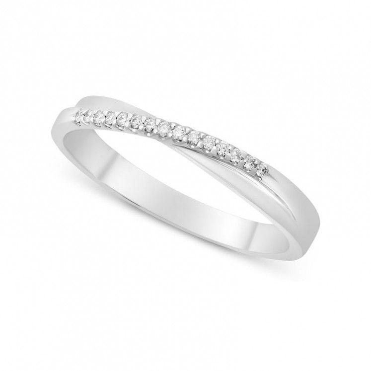 Ladies 18ct White Gold Diamond Crossover Shaped Wedding Ring Wedding Rings Wedding Ring Shapes Wedding Rings Unique